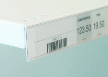 Etiketthållare med dubbelhäftande tejp (AL)