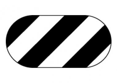 Golvmärkning oval, svartvit randig