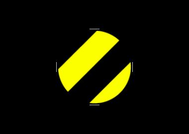 Svart/gul rund golvmarkering