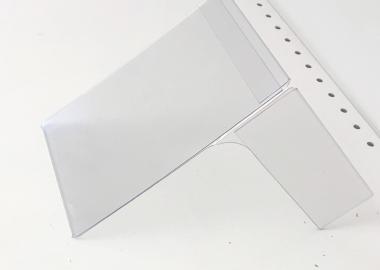 90 grader hylltalare fästes i etiketthållare