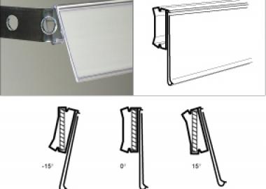 Konsollist etiketthållare med olika vinklar (SPV)