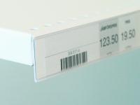 Rak etiketthållare med vit skumtejp