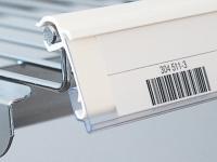 Etiketthållare för trådhyllor och trådkorgar