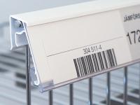 Etiketthållare för lodräta glaskanter och trådkorgar